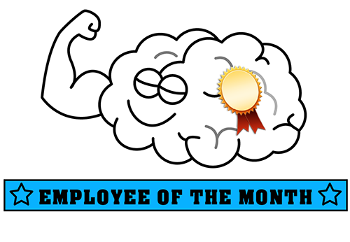 Funny brain with sign that says: employee of the month
