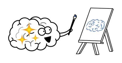 Funny picture of a brain who is happy because it is painting