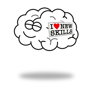 Funny picture of a brain with a sticker on it which says: I love new skill